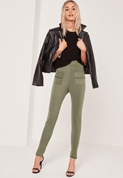 Missguided Pocket Detail Skinny Leggings Khaki