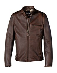 Schott Waxed Cafe Leather Jacket Brown