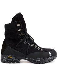 Premiata Lace Up Boots Leather Canvas Rubber Black