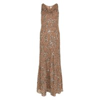 Raishma Mink Beaded Evening Gown Brown