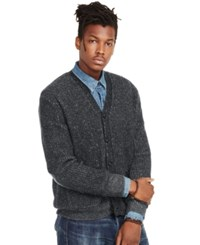 Denim And Supply Ralph Lauren Waffle Knit Cotton Cardigan Charcoal