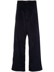 E. Tautz Loose Fit Corduroy Trousers Blue