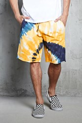 Forever 21 Tie Dye French Terry Shorts Yellow Navy