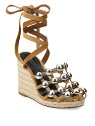 Alexander Wang Taylor Studded Suede Lace Up Espadrille Wedge Sandals Clay