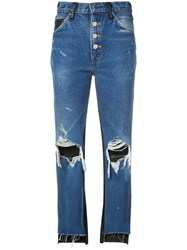 Amiri Ripped Bicolour Jeans Blue