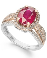 Effy Collection Ruby Royale By Effy Two Toned Ruby 1 9 10 Ct. Tw. And Diamond 5 8 Ct. Tw. Oval Ring In 14K White And Rose Gold