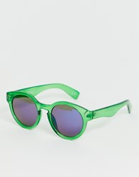 Jeepers Peepers Green Tinted Frame Retro Sunglasses
