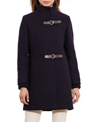 Lauren Ralph Lauren Basket Weave Wool Blend Coat Navy Blue