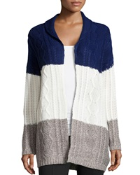 Neiman Marcus Colorblock Cable Knit Cardigan Navy Ivory Heather Gray