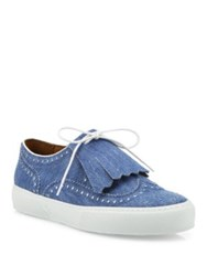 Robert Clergerie Tolka Kiltie Denim Brogue Sneakers Light Blue