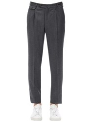 Pt01 Virgin Wool And Cashmere Flannel Pants Grey