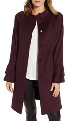 Trina Turk Sara Ruffle Cuff Wool Blend Coat Wine