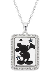 Disney Mickey Mouse 'Dream Bigger' Crystal Accent Pendant Necklace Silver