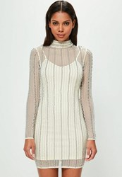 Missguided Nude High Neck Striped Embellished Bodycon Dress