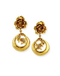 Jose And Maria Barrera Golden Flower Clip On Earrings