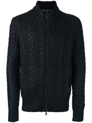 John Varvatos Cable Knit Zipped Cardigan Black