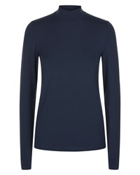 Jaeger Jersey Ribbed Funnel Neck Top Navy