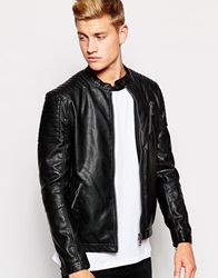 New Look Faux Leather Zip Jacket Black