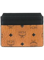 Mcm Logo Print Cardholder Nude And Neutrals