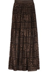 Temperley London Ora Metallic Cotton Blend Lace Maxi Skirt Bronze
