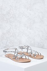 Forever 21 Metallic Braided Sandals Silver