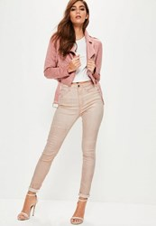 Missguided Pink Rebel Highwaisted Metallic Skinny Jeans