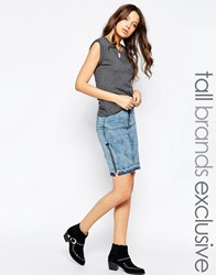 Noisy May Tall Denim Skirt With Side Zip Blue