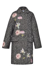 Blumarine Embroidered Herringbone Coat Dark Grey