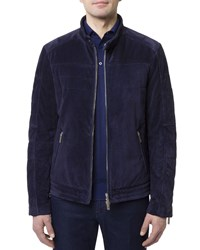 Stefano Ricci Zip Front Quilted Suede Moto Jacket W Woven Lining Blue
