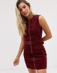 Urban Bliss Wednesday Cord Dress With Zip Front And Belt Detail Red
