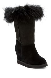 Australia Luxe Collective Foxy Tall Hidden Wedge Genuine Fox Fur And Shearling Boot Black