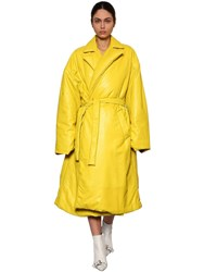 Balenciaga Wrapped Quilted Leather Coat Yellow