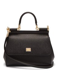 Dolce And Gabbana Sicily Small Leather Cross Body Bag Black