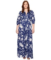 Rachel Pally Long Caftan Dress Seaside Peony Women's Dress Blue