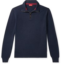 Isaia Slim Fit Suede Elbow Patch Cashmere Half Zip Sweater Blue