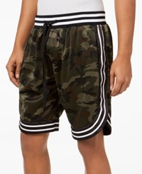 American Stitch Satin Striped Trim Shorts Camo