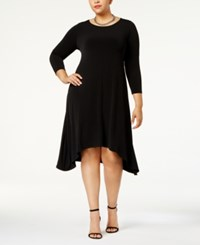 Alfani Plus Size Fit And Flare Knit Dress Created For Macy's Deep Black