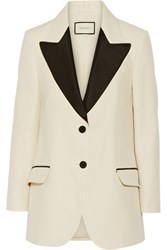 Gucci Two Tone Wool And Silk Blend Faille Blazer Cream