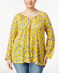 Styleandco. Style Co. Plus Size Floral Print Peasant Top Only At Macy's Dancing Petals Soft Yellow