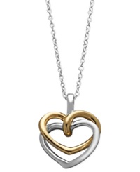 Giani Bernini Sterling Silver And 24K Gold Over Sterling Silver Necklace Two Tone Interlocking Heart Pendant