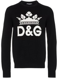 Dolce And Gabbana Intarsia Logo Cashmere Sweater Black