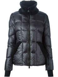Moncler Grenoble Lamb Fur Trim Padded Jacket Blue