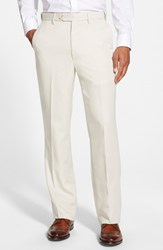 Men's Big And Tall Berle Self Sizer Waist Flat Front Trousers Stone