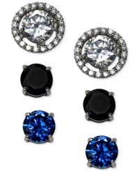 B. Brilliant Cubic Zirconia Earring Set With Interchangeable Jacket In Sterling Silver