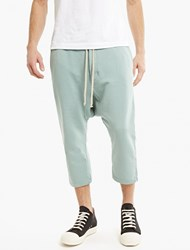 Rick Owens Mint Cotton Jersey Cropped Trousers Blue