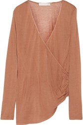 Kain Label Arabella Wrap Effect Modal And Silk Blend Top Light Brown