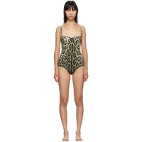 Dolce And Gabbana Tan Leopard One Piece Swimsuit