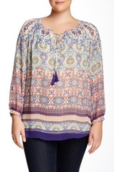 Daniel Rainn Long Sleeve Printed Peasant Blouse Plus Size Multi