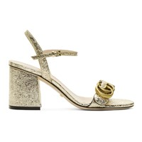 Gucci Gold Marmont Heeled Sandals