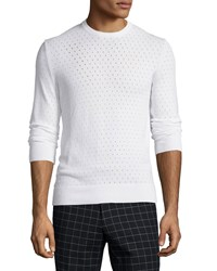 Michael Kors Perforated Long Sleeve Sweater White